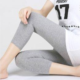 Knitted Black Leggings Australia - Summer Leggings Women Preppy Style 3 4 Mid-Calf Length Stretchy Leggings Cotton Knitted Elastic Waist Black Gray White B92891