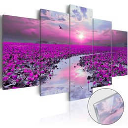 wall art purple canvas frame NZ - 5 Pcs Home Decoration Painting Wall Art HD Print Modern Poster Canvas Cuadros Modular Purple Flower Sea Scenery Picture For Gift