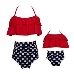 $enCountryForm.capitalKeyWord NZ - Red Polka Dot Bikinis Mother Daughter Swimsuit High Waist Family Matching Outfits Mommy and Me Swimwear Mom Baby Girl Sisters Summer Clothes