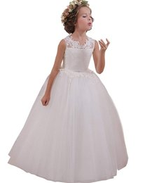 Lace Hole Back Wedding Dress Australia - Flower Girl Dresses Back Key Hole Ball Gown Communion Gowns for Wedding