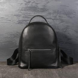 Shoulder Straps Backpack NZ - Johnature 2019 New Genuine Leather Zipper Bags Moto & Biker Silt Pocket Hard Handle Arcuate Shoulder Strap Women Female Backpack