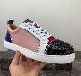 $enCountryForm.capitalKeyWord Canada - Spikes Red Bottom Designer Flat Casual Shoes Men Women Low Top Red Sole Studded Blue Black Studs Rivet Male Shoes sneakers zxc1012103
