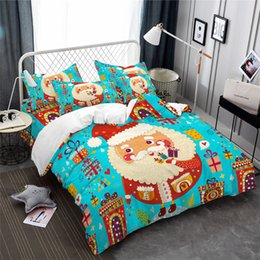 Colorful Printed Bedding NZ - Colorful Christmas Bedding Set Cute Santa Claus Print Duvet Cover Set Multi-Color Gift Bed Cover Cartoon Bedclothes Pillowcase