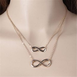 $enCountryForm.capitalKeyWord Australia - WKOUD Simple Design Necklace For Women Infinity Figure 8 Double Layer Short Necklace Pendant Hammered Link Collier Gift