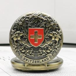 $enCountryForm.capitalKeyWord Australia - Vintage Switzerland Red cross Quartz Pocket Watch Classic Bronze Tone Gift for Men Women WP4010