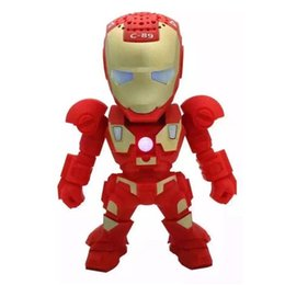portable kids mp3 speakers UK - Robot Design C-89 Iron Man Mini Protable Wireless Bluetooth Speaker With TF Card FM Radio Handfree MP3 Player Best Gift For Kids