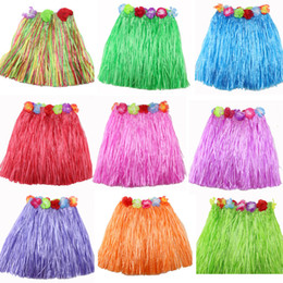 halloween grass skirts 2019 - 40CM Summer Girl Dress Up 9 Colors Plastic Fibers Kid Grass Skirts Hula Skirt Hawaiian costumes free shipping