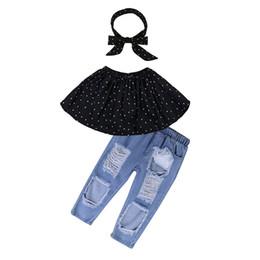 $enCountryForm.capitalKeyWord Australia - Children Summer Suit - hipster Girl Denim Suit - strapless Black Polka Dot T-shirt - ripped Jeans Of DHgate