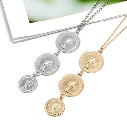 $enCountryForm.capitalKeyWord Australia - EVERLEAD Charms Coins Statement Choker Trendy Multi Layered Chain Gold Silver Coins Pendant Necklace women Jewelry collares