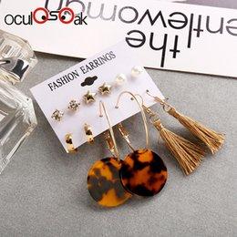 $enCountryForm.capitalKeyWord Australia - Oculosoak 6 Pairs sets Fashion Gold Color Leaves Long Tassel Love Letter Stud Earrings Set For Women New Brincos Jewelry 2019