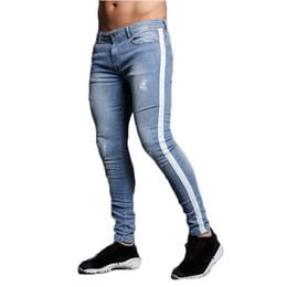 Venta al por mayor de Pantalones de chándal para correr para hombre Flacos, hombres streetwear, pantalones vaqueros rasgados para hombre Pantalón de abajo con cremallera hip hop homme pantalones jogging delgados