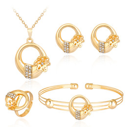 $enCountryForm.capitalKeyWord Australia - HC Exquisite Flower Round Kids Jewelry Sets Lovely Crystal Gold Color Children Girl's Necklace Bracelet Ring 4Pcs Jewelry Sets T