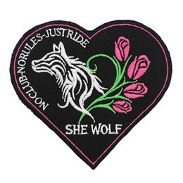 $enCountryForm.capitalKeyWord Australia - SHE WOLF NO CLUB punk embroidered iron on backing biker patch badge for jacket jeans bags vest 10 pieces  LOT