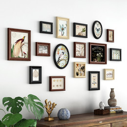 wooden photo frames NZ - Retor Style Bedroom Picture Frame For Wall Decoration Combination Photo Frame Family Picture Frame Wall Wooden Picture Album