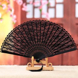 chinese wedding guest gifts NZ - Black Lace Hand Fan Vintage Chinese Retro Hand Fan Portable Folding For Fashion Women Wedding Party Favors Gifts to Guest