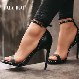$enCountryForm.capitalKeyWord Australia - Lala Ikai Women Sandals High Heels Summer Thin Heel Pu Leather Rivet Peep Toe Sexy Party Shoes Sandalia Feminina 014c1845-45 Y190704