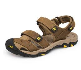 Beach Shoes 47 Australia - New Fashion Summer Shoes Cow Leather Men Sandals Mens Casual Shoes Non-slip Rubber Soles Beach Shoes Plus Size 38 ~ 47