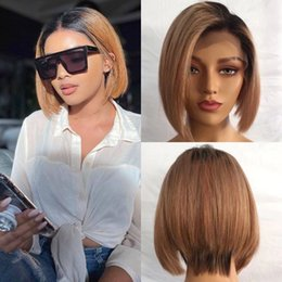 human hair wigs 27 NZ - 10A Grade Human Hair Full Lace Wigs Ombre #1b 27 Short Bob Pixie Cut Lace Frontal Wigs with Baby Hair 150% Density Pre Plucked