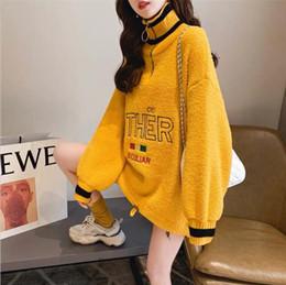 Korean turtlenecK zipper online shopping - Cat Autumn Women Sweatshirts Streetwear Casual Long Sleeve Pullover Sweatshirt Korean Ulzzang Harajuku Half Turtleneck Female Top