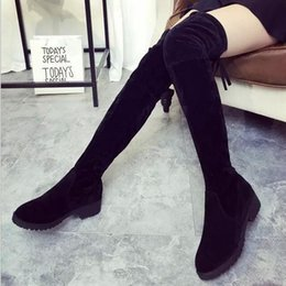 f6414d4ba440 Arrivals Women Shoes Over Knee Thigh High Black Boots Female Motorcycle  Flats Long Boots Low Heel Suede Women Boots W73