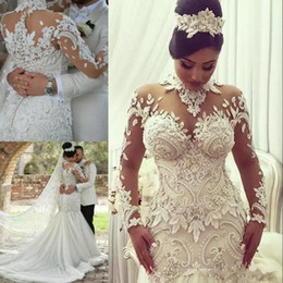 Discount haute mermaid dress - Azzaria Haute Mermaid Long Sleeves Wedding Dresses 2019 Illusion Nigeria High Neck Appliqued Beaded Dubai Arabic Castle