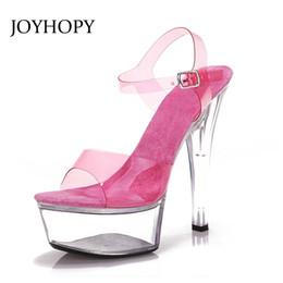 JOYHOPY Summer Fluorescence 15cm High Heel Sandals Women Transparent  Platform Shoes For Party Wedding Pumps Super High Heels 172e4b3b5125