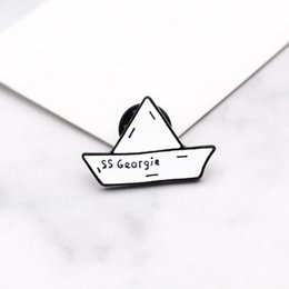Sapphire broocheS online shopping - SS Georgie paper boat Enamel badge Stephen King s IT Cartoon origami brooch Paper boat maiden voyage Cowboy lapels pin
