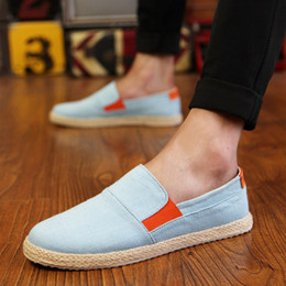 $enCountryForm.capitalKeyWord Australia - Men's Canvas Shoes Fall Spring Slip on Male Loafers Espadrilles Easy Boost Cloth Black Blue Flax Without Laces Footwear