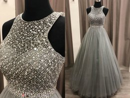 $enCountryForm.capitalKeyWord NZ - Sparkly Crystal Sliver Evening Quinceanera Dresses Jewel Sheer Neck A line Rhinestones Beaded Real Photo Party Long Prom Pageant Dress