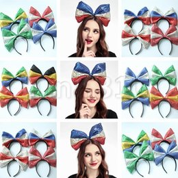 Headbands Bow Australia - American flag Hair hoop dot headband big bow bowknot sequin fabric flag hoop US Independence Day National Day hair stick Party Favor 4752