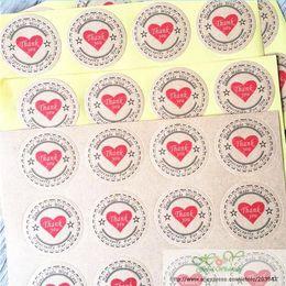 "$enCountryForm.capitalKeyWord Australia - 600pcs lot Vintage ""Thank you"" Heart Round Kraft Stationery label seal sticker Students' DIY Retro label For handmade products"