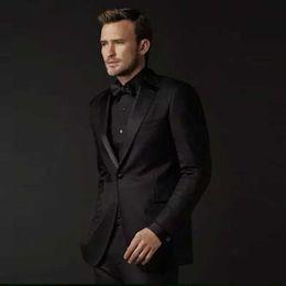 Groom Pants Coat Australia - Latest Groom Tuxedo Men Suits for Wedding Black Satin Lapel Casual Man Blazer Custom Made Costume Homme 2 Piece(Coat+Pants)Terno Masculino