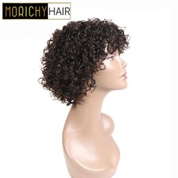 french curl wigs UK - MORICHY Bouncy Curls Very Short Hair Bob Wigs Non-remy Human Hair Wig Natural Black Full Machine Wigs for Women