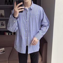 $enCountryForm.capitalKeyWord Australia - Autumn Dress New Men's Classic Striped Fashion Shirt Cotton Casual Shirts Men Full Turn-down Collar Single Breasted Blue Black
