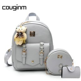 new school bag set 2019 - COUGINM New Women Composite Backpacks Floral PU Leather Bag 3 pcs Set Bowknot Circle Crossbody Casual Travel Rucksack Sc