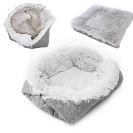 washable cat beds Canada - Foldable Washable Pet Dog Cat Sleeping House Nest Plush Pet Dog Bed Winter Warm Pets Bed Soft Mats House New