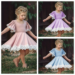 tutus boutique NZ - Baby Clothes Girls Lace Pageant Dresses Summer Princess Dresses Kids Dance Pleated Dresse Child Tutu A-Line Dress Fashion Boutique LT67