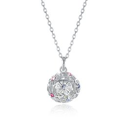 Sterling Silver Ball Link Chain Australia - Sterling Silver Necklaces Crystal From Swarovski Elements S925 Silver Colored Ball Pendant Necklace Trendy Ladies Christmas Gifts POTALA311