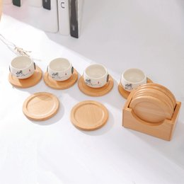 Wholesale 6pcs Heat resistant Coaster Wooden Non slip Mug Pad Set Anti Scalding Insulation Mat Cup Pad Hot Drink Holder Table Mat Dish DBC VT1614