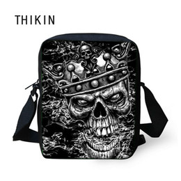 crossbody bags boys Australia - THIKIN Black Small Skull Messenger Bags for Men Male Cool Skull Print Crossbody Bag Kids Boys Mini Shoulder Teenagers Cross Body
