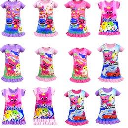 Girls Tassel Shirt Australia - 14 Color Girls Baby Shark Dress New Children Lovely Cartoon Pinkfong Short Sleeve Pajamas Dress Baby Summer Night Skirt Clothes