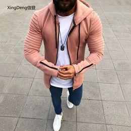 $enCountryForm.capitalKeyWord Australia - XingDeng Explosive zipper hooded men's jacket cardigan male sweater pleated long-sleeved hooded men's top coat plus 5XL