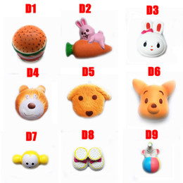 Wholesale DHL Squishy Toy hamburger rabbit dog bear squishies Slow Rising cm cm cm cm Soft Squeeze Cute Strap gift Stress children toys D1 D10