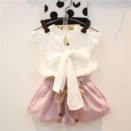 girl s bows NZ - Children clothes summer girl bow shirt+short pants 2 pieces kids fashion clothing 5 s l free shipping