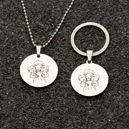 Cartoon Stamping Australia - Embracing Two Babies Round Stamped Pendant Necklace Keychain Mom MUM Mother Jewelry Gift