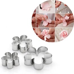 embosser cutter UK - 3Pcs Set Stainless Steel Rose Flower Petal Fondant Mold Sugar Craft Cake Cookies Embosser Cutter Drop Shipping