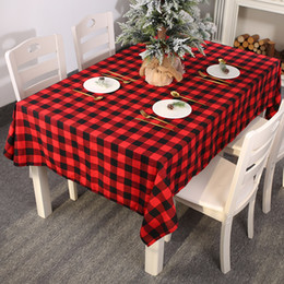 table cloths covers NZ - Christmas Red Black Plaid Tablecloth Home Decoration Dinner Party Universal Classic Rectangle Table Cloth Cover New Year 213*153cm