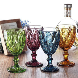 goblet wine glasses wholesale Canada - 4Pcs lot Multicolor Carved Glass Red Wine Glasses Cups Wedding Party Champagne Flutes Goblet Bar Restaurant Home Tools