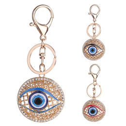 evil eye car pendant Australia - Fashion Evil Eye Hollow Out Round Metal Key Chains Rings Bag Buckle Pendant For Car Keyrings KeyChains