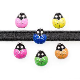 8mm sliding charms online shopping - 20pcs mm ladybug ladybird Slide DIY Charm for mm wristband belts bracelet